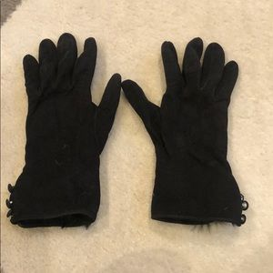 Italian Leather and fur black gloves
